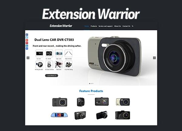 WordPress配件行业网站案例 – EXTENSION WARRIOR汽车记录仪
