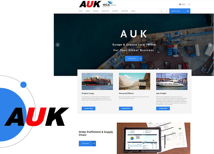 WORDPRESS 海外物流运输公司平台案例- AUK